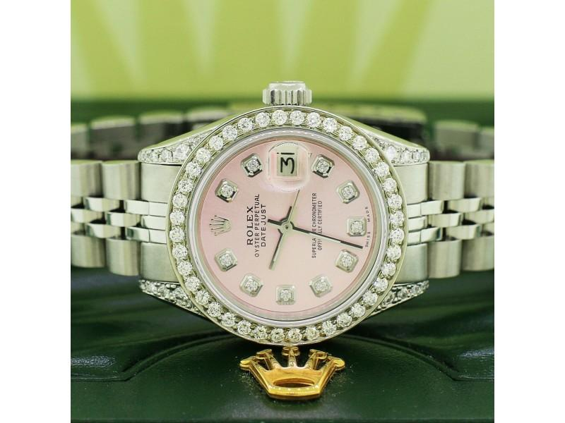 Ladies Rolex Datejust 26mm Steel Jubilee Diamond Watch W/Ice Pink Dial PRE-OWNED