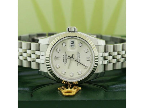 Ladies Rolex Datejust 26mm Jubilee Watch W/Factory Silver Diamond Dial 18K White Gold PRE-OWNED - Global Timez
