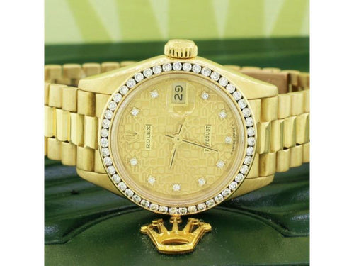 Ladies Rolex President 18K Gold Factory Jubilee Diamond Dial 26MM Automatic Watch PRE-OWNED - Global Timez
