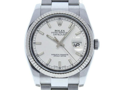 Men's Rolex Datejust 36mm 116234 Unisex Stainless Steel Automatic White PRE-OWNED - Global Timez