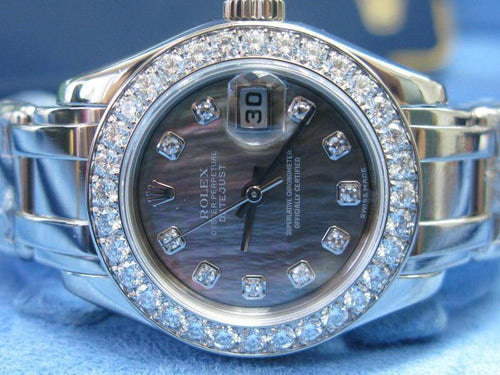Men's 18Kt Rolex PearlMaster Black Mother Of Pearl White Gold Diamond Watch #80299 PRE-OWNED - Global Timez