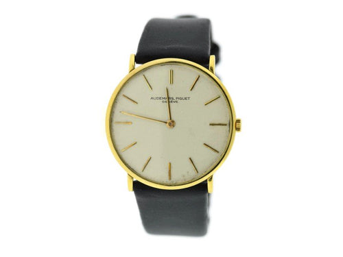 Men's Audemars Piguet 18K Yellow Gold & Leather Manual Wind Vintage 31.5mm Mens Watch PRE-OWNED