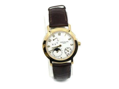 Men's Patek Philippe Calatrava Moon Phase 18K Yellow Gold Watch 5055J-001 PRE-OWNED - Global Timez