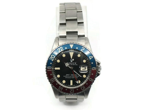 Men's Rolex GMT-Master Fat Font MK1 Dial Stainless Steel Watch 1675 PRE-OWNED - Global Timez
