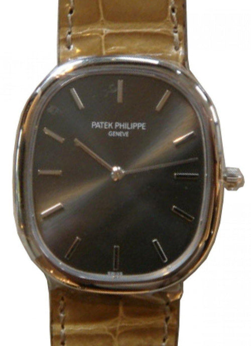 Men's Patek Philippe 3738/100G-012 Golden Ellipse 31.1 x 35.6mm Brown Index White Gold Leather Manual BRAND NEW - Global Timez