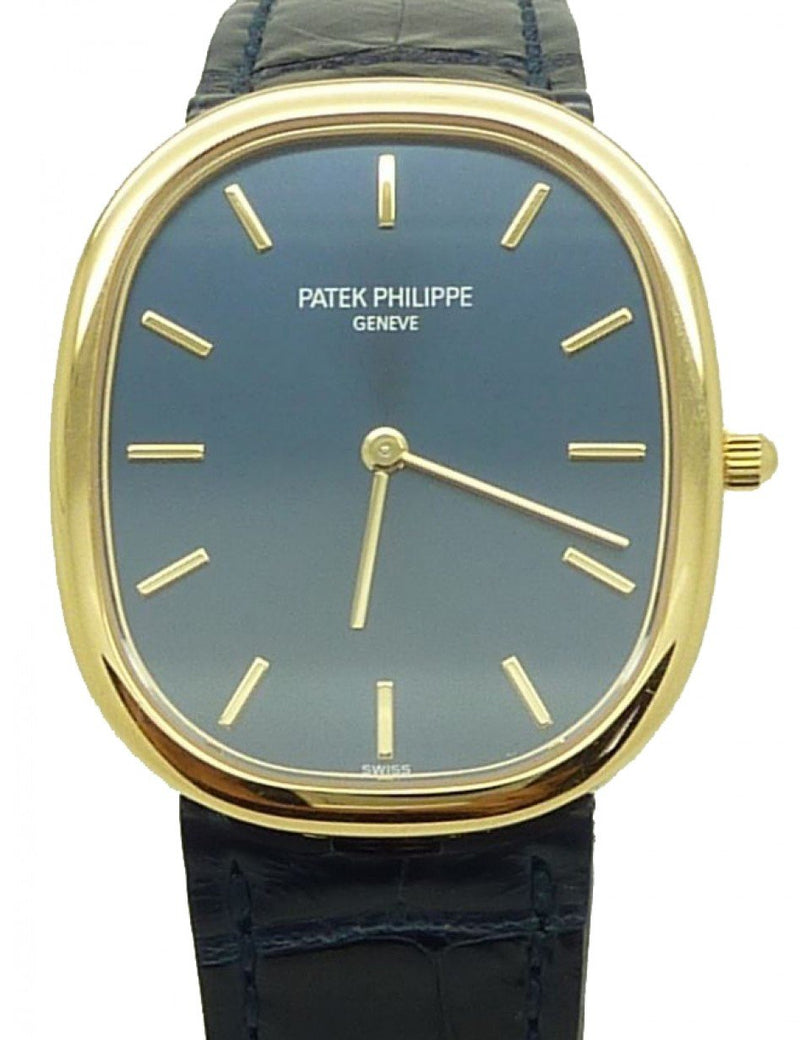 Men's Patek Philippe 3738/100J-012 Golden Ellipse 31.1 x 35.6mm Blue Index Yellow Gold Leather Manual BRAND NEW
