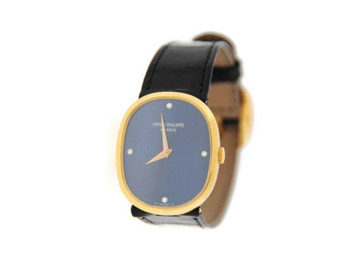 Men's Patek Philippe Ellipse Diamond Blue Dial 18K Yellow Gold Watch 3748 Archives PRE-OWNED - Global Timez