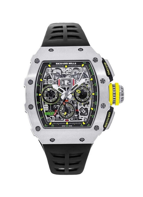 Men's Richard Mille RM 11 Flyback Chronograph in Titanium on Black Rubber Strap with Skeleton Dial RM11 03Ti Brand New - Global Timez