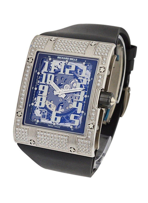 Men's Richard Mille RM016 Ultra Flat in White Gold with Diamond Bezel on Black Strap with White Skeleton Dial RM016WGFull PRE-OWNED - Global Timez