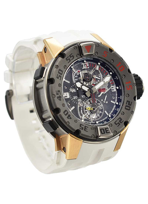 Men's Richard Mille RM 025 Diver Tourbillion in Titanium and Rose Gold On White Rubber Strap with Skeleton Dial RM025 PRE-OWNED