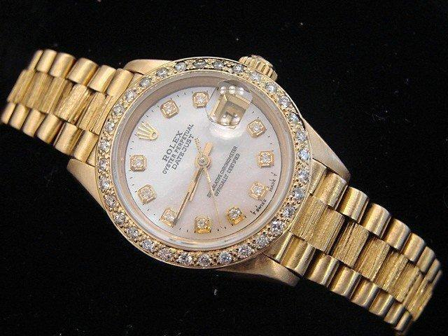 Ladies Rolex 18K Yellow Gold Datejust President White Diamond PRE-OWNED - Global Timez