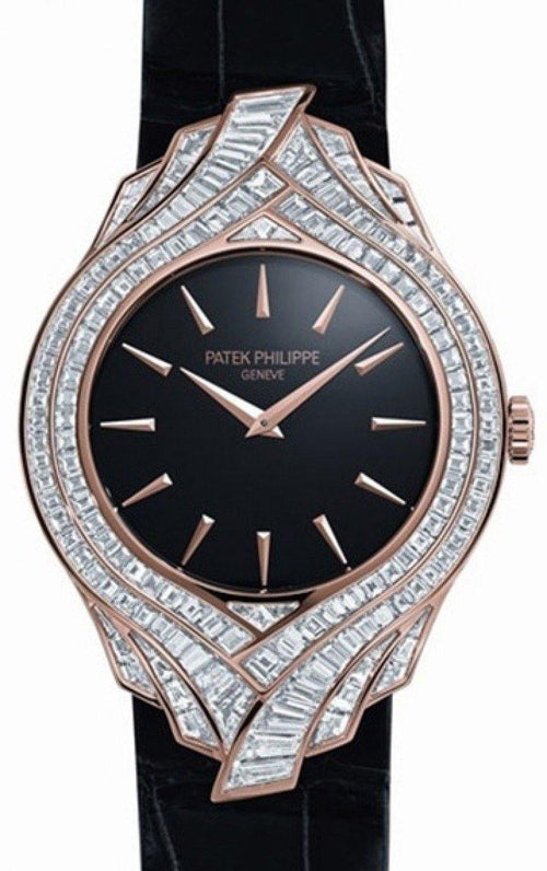 Patek Philippe Calatrava Ladies 4895R 34mm Black Index Rose Gold Diamond Pattern BRAND NEW - Global Timez