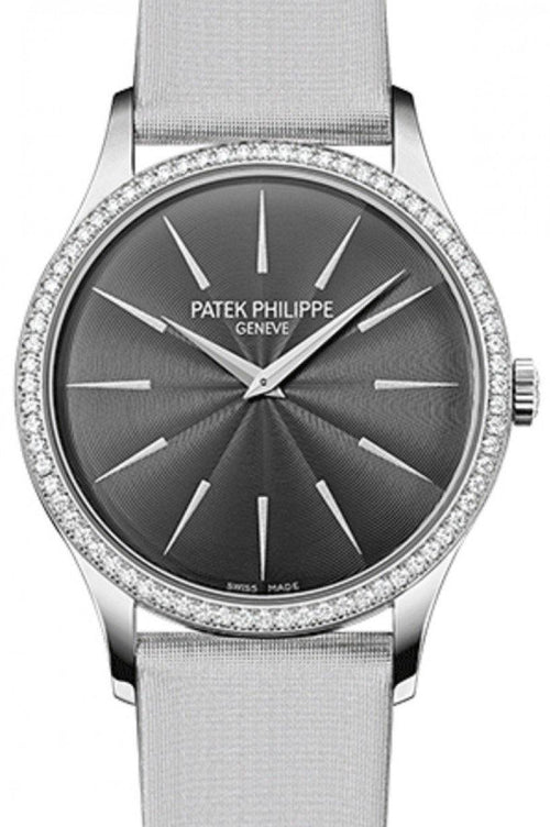Patek Philippe 4897G-010 Calatrava Ladies 33mm Slate Index White Gold Diamond Set Leather Manual BRAND NEW - Global Timez