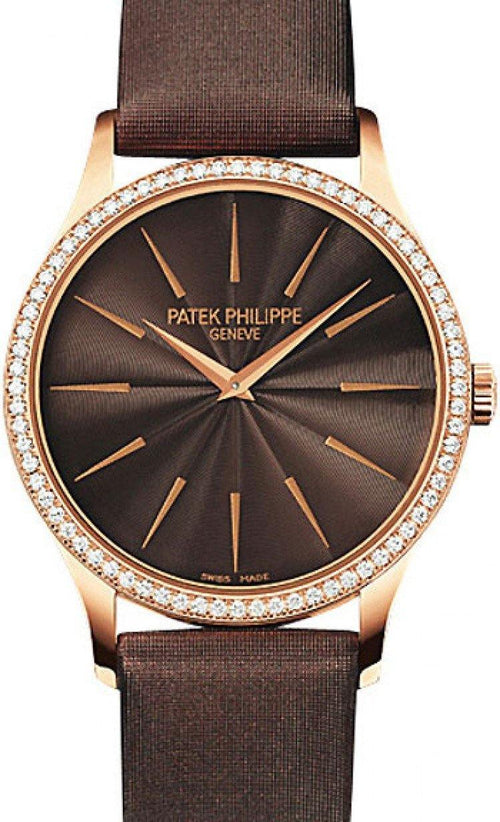 Patek Philippe Calatrava Ladies Brown Index Dial Rose Gold Diamond Set Bezel Leather Manual 33mm 4897R-001 - BRAND NEW - Global Timez