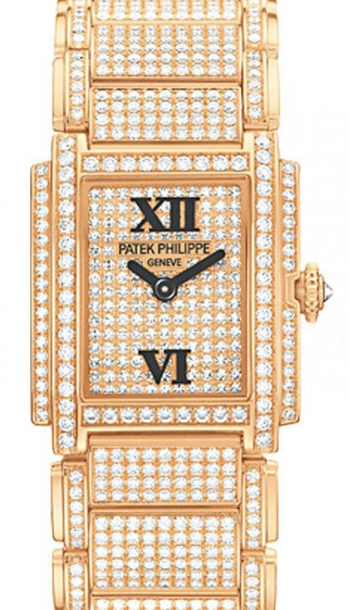 Patek Philippe 4909/50R-001 Twenty~4 Ladies 22 x 26.3mm Diamond Pave Roman Rose Gold Manual BRAND NEW - Global Timez