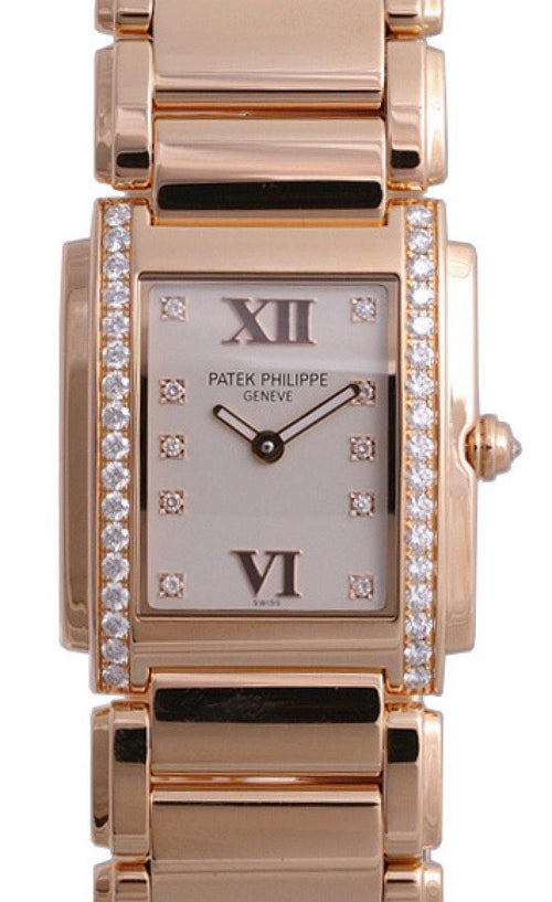 Patek Philippe 4910/11R-011 Twenty~4 Ladies Medium 27 x 30mm White Roman Diamond Set Rose Gold Quartz BRAND NEW - Global Timez