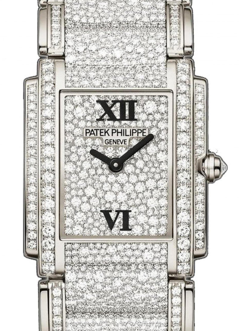 Patek Philippe Ladies Twenty~4 Medium 4910/52G Roman White Gold Full Diamond Set BRAND NEW