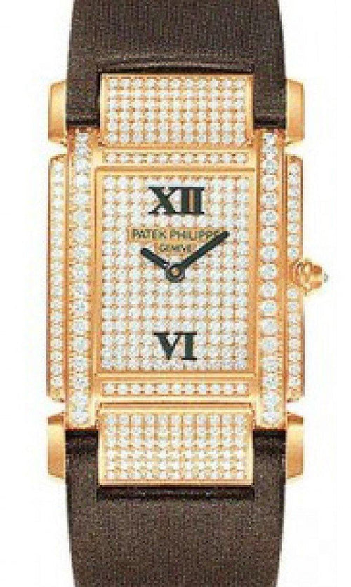 Patek Philippe 4910R-001 Twenty~4 Ladies Medium 30 x 30mm Diamond Pave Roman Rose Gold Diamond Set Quartz BRAND NEW - Global Timez