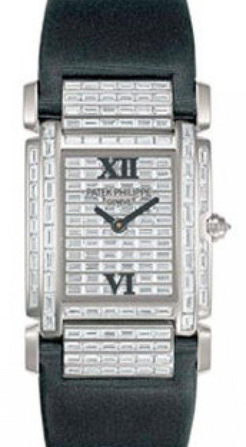 Patek Philippe 4911G-001 Twenty~4 Ladies Medium 31 x 30mm Baguette Diamond Roman White Gold Diamond Set Quartz BRAND NEW - Global Timez