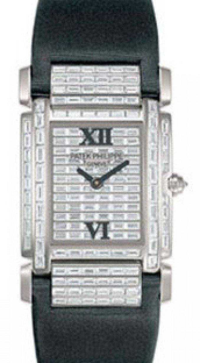 Patek Philippe 4911G-001 Twenty~4 Ladies Medium 31 x 30mm Baguette Diamond Roman White Gold Diamond Set Quartz BRAND NEW