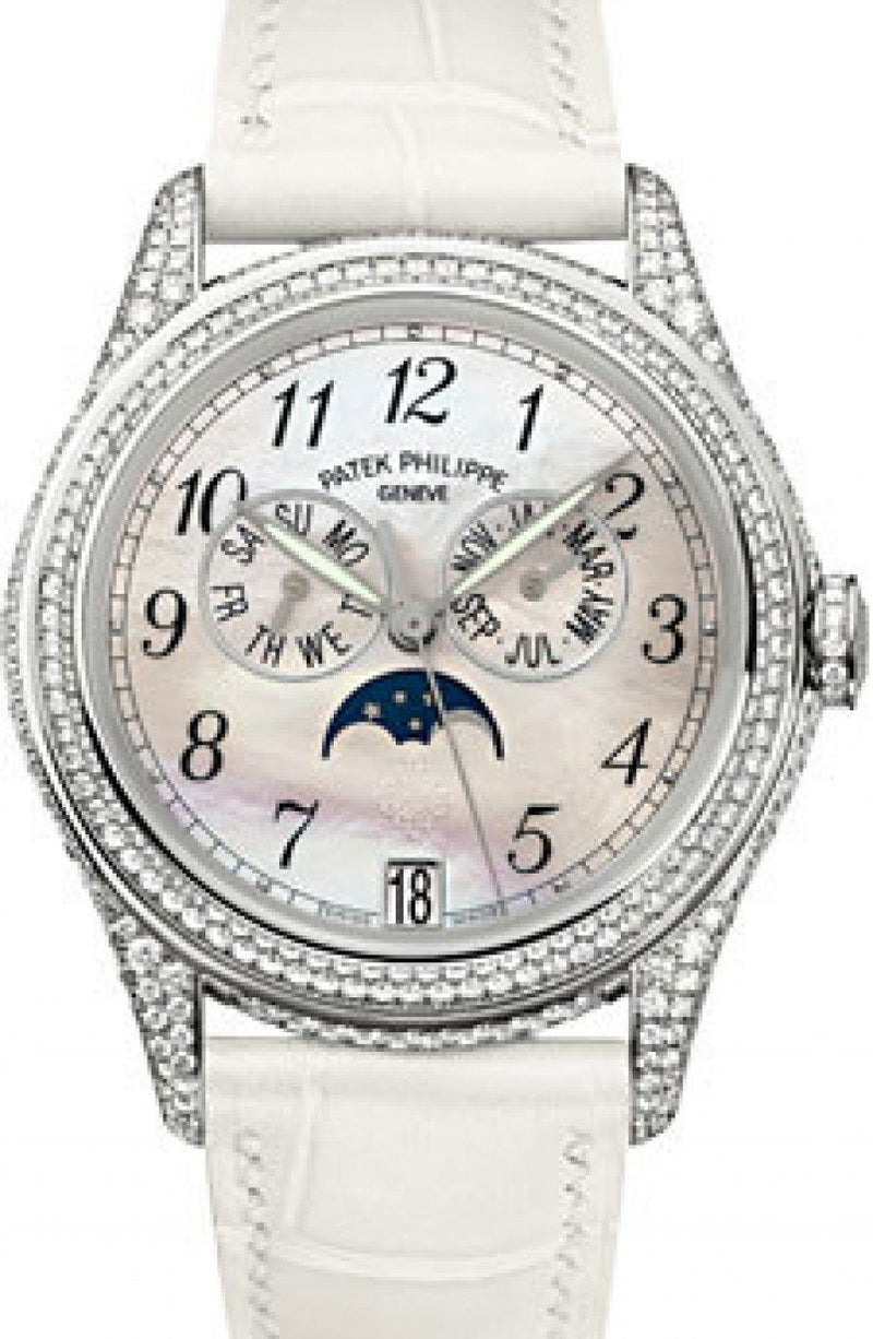 Patek Philippe 4937G-001 Complications Ladies Annual Calendar Moon Phase 37mm White Mother of Pearl Arabic White Gold Diamond Set Leather Date BRAND NEW