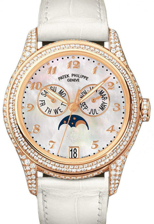 Patek Philippe 4937R-001 Complications Ladies Annual Calendar Moon Phase 37mm White Mother of Pearl Arabic Rose Gold Diamond Set Leather Date BRAND NEW - Global Timez