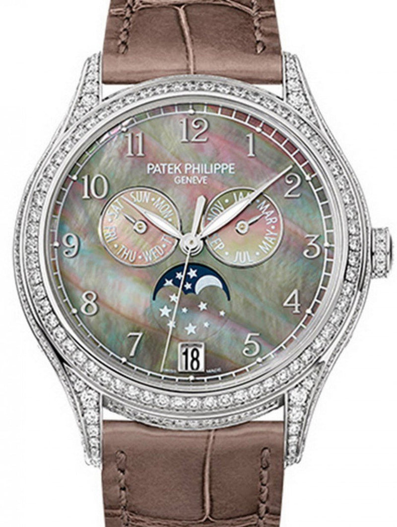Patek Philippe 4948G-001 Complications Ladies Annual Calendar Moon Phase 38mm Black Tahitian Mother of Pearl Arabic White Gold Diamond Set Leather Automatic BRAND NEW