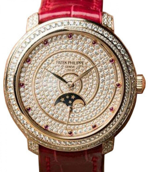 Patek Philippe 4968-400R-001 Ladies Complications 33.3mm Diamond Paved Dial and Bezel Rose Gold Leather BRAND NEW - Global Timez