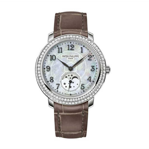 Patek Philippe 4968G-010 Complications Ladies Moon Phase 33.3mm White Mother of Pearl Arabic White Gold Diamond Set Leather Manual BRAND NEW - Global Timez