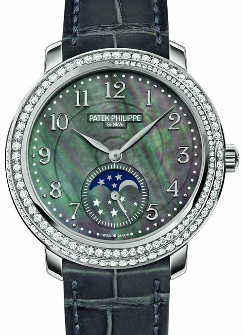 Patek Philippe 4968G-001 Complications Ladies Moon Phase 33.3mm Black Tahitian Mother of Pearl Arabic White Gold Diamond Set Leather Manual BRAND NEW - Global Timez
