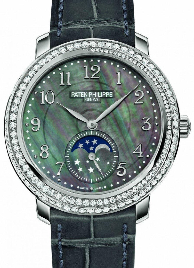 Patek Philippe 4968G-001 Complications Ladies Moon Phase 33.3mm Black Tahitian Mother of Pearl Arabic White Gold Diamond Set Leather Manual BRAND NEW