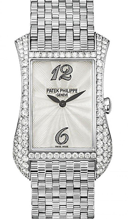 Patek Philippe 4972/1G-001 Gondolo Serata Ladies 27.4 x 39.7mm Guilloched White Mother of Pearl Arabic White Gold Diamond Set Quartz BRAND NEW - Global Timez