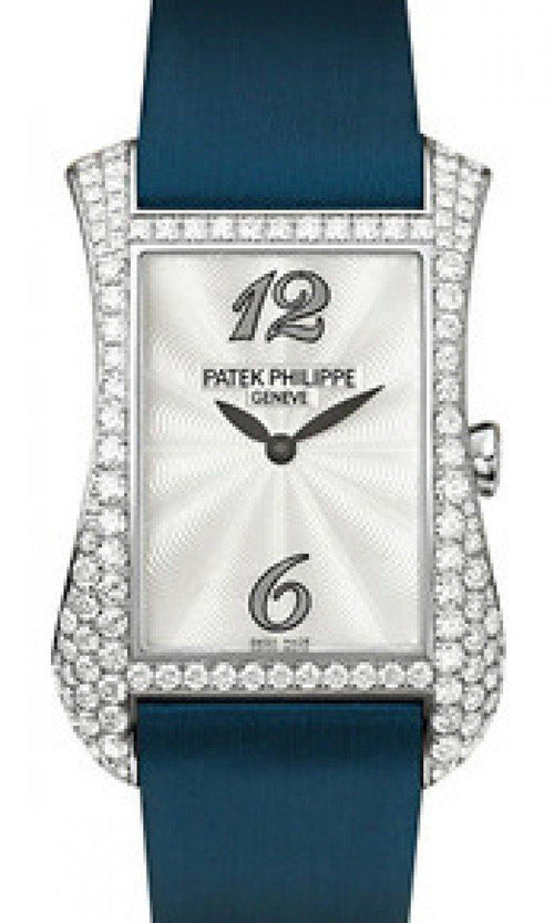 Patek Philippe Gondolo Serata Ladies Guilloched White Mother of Pearl Arabic Dial White Gold Diamond Set Bezel Quartz 4972G-001 - BRAND NEW - Global Timez