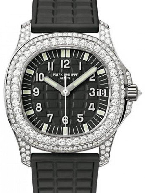 Patek Philippe 5069G-001 Aquanaut Ladies 35.2mm Embossed Black Arabic Diamond Bezel White Gold Diamond Set Composite Automatic BRAND NEW - Global Timez