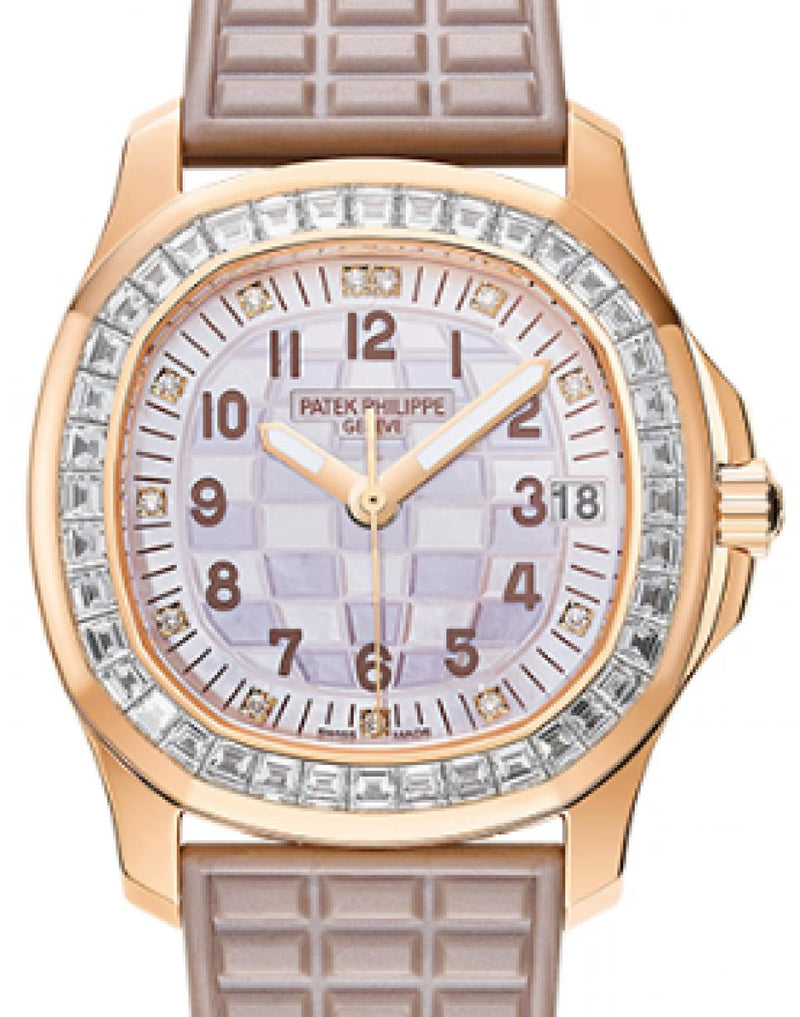 Patek Philippe Aquanaut Ladies Mother of Pearl Two-Tone Beige Dial Diamond Bezel Rose Gold Bezel Beige Strap 35.6mm 5072R-001 - BRAND NEW