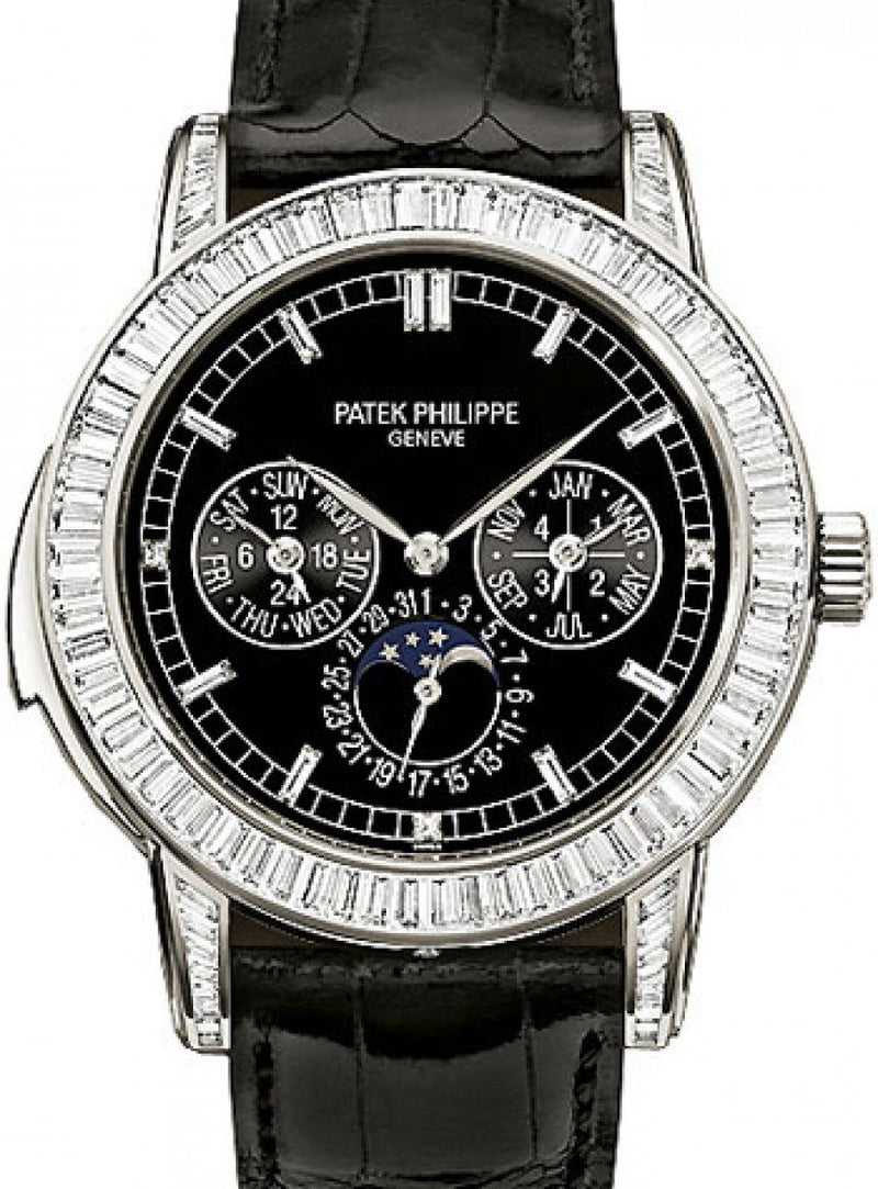 Men's Patek Philippe 5073P-001 Complications Day-Date Annual Calendar Moon Phase 42mm Black Index Platinum Diamond Set Automatic BRAND NEW
