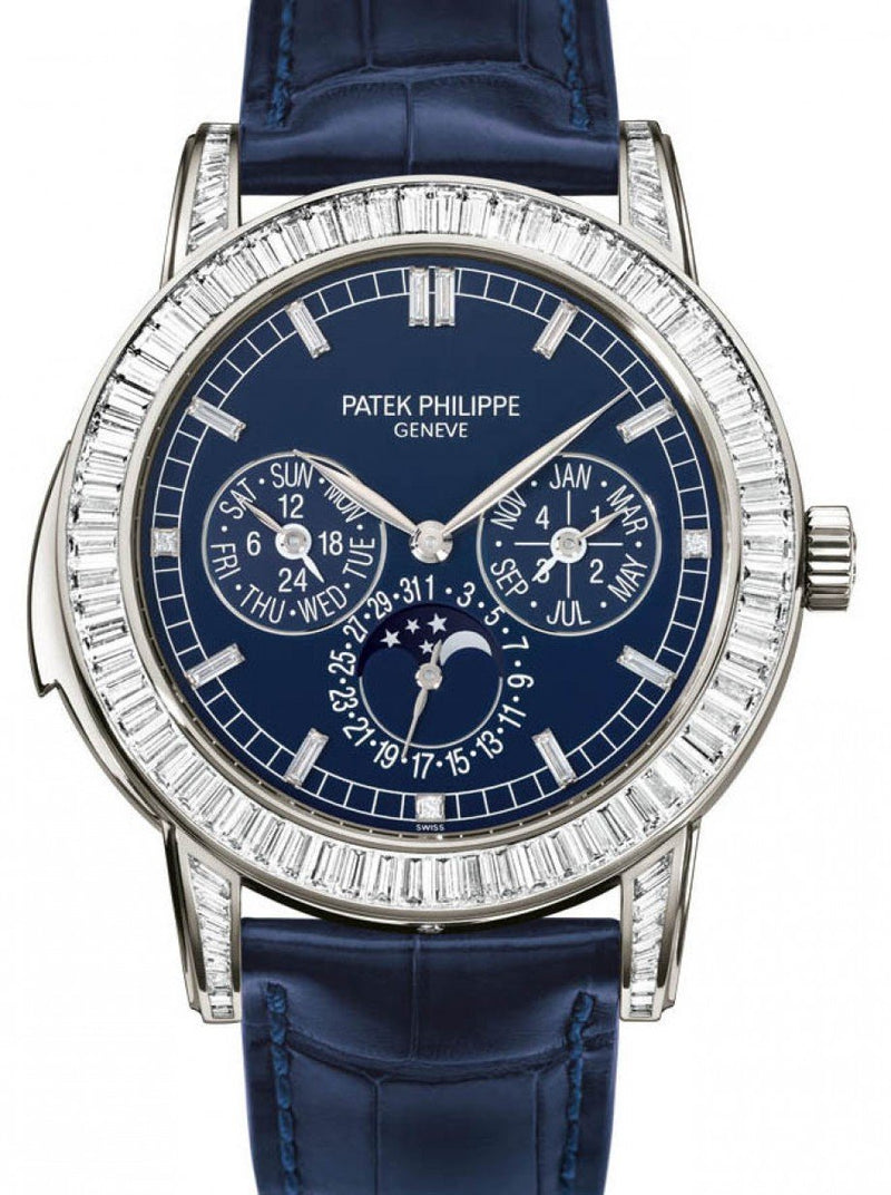 Men's Patek Philippe 5073P-010 Grand Complications Day-Date Annual Calendar Moon Phase 42mm Blue Index Platinum Diamond Set Automatic BRAND NEW