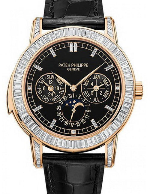 Men's Patek Philippe Grand Complications 5073R-001 42mm Black Index Rose Gold Diamond Set BRAND NEW - Global Timez