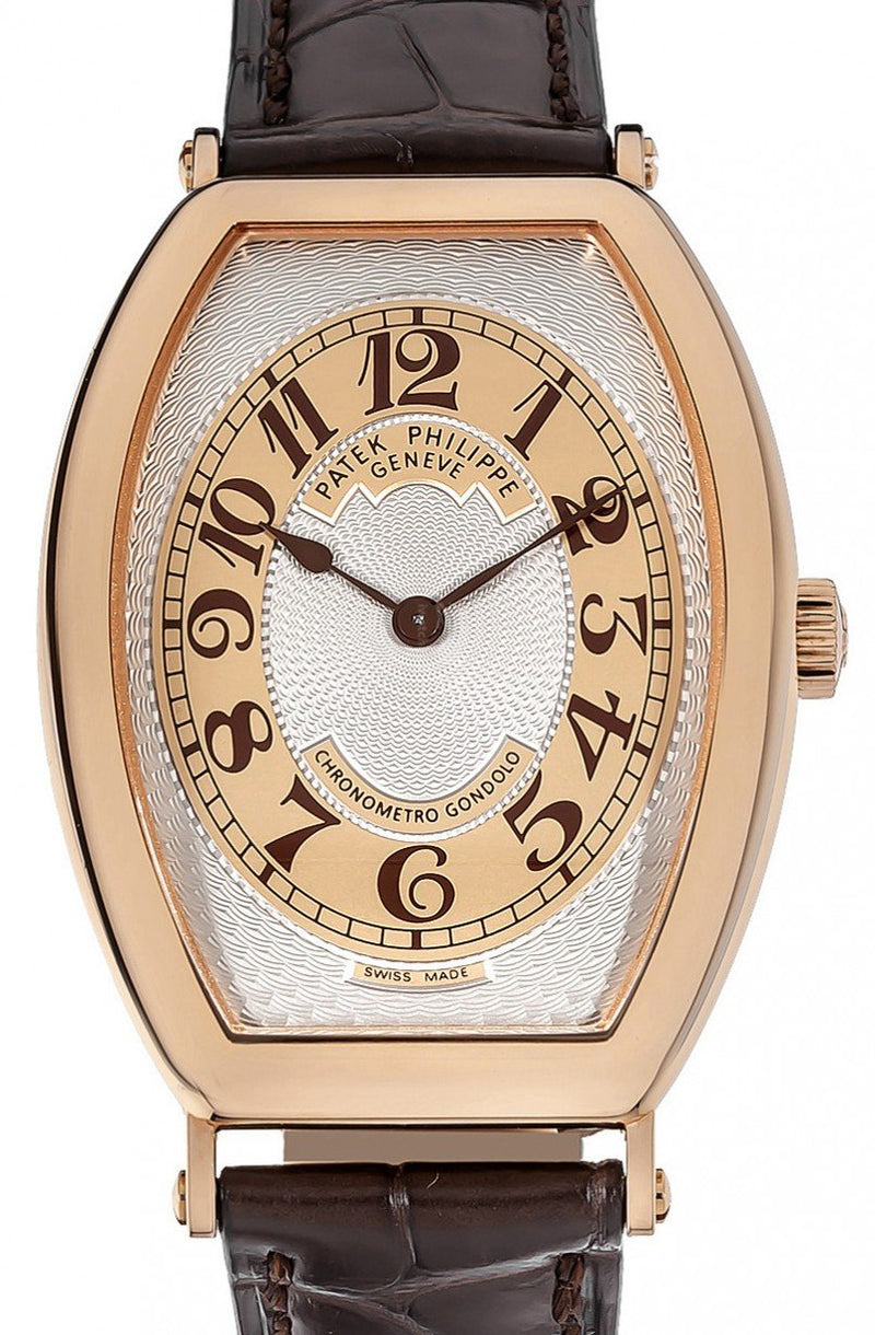 Men's Patek Philippe Gondolo Gold Guilloche Arabic Rose Gold Bezel Brown Leather Strap Manual 32 x 42mm 5098R-001 - BRAND NEW