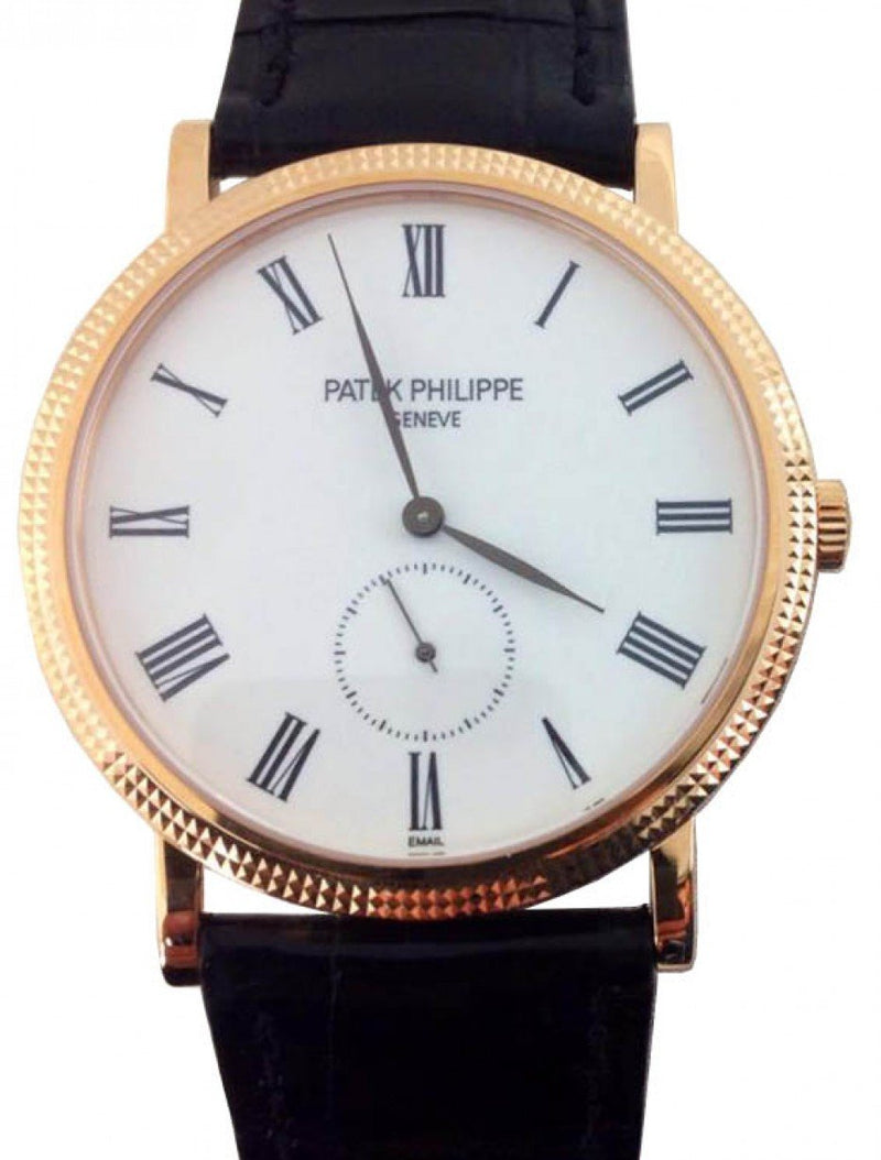 Men's Patek Philippe 5116R-001 Calatrava 36mm White Roman Hobnail Rose Gold Leather BRAND NEW