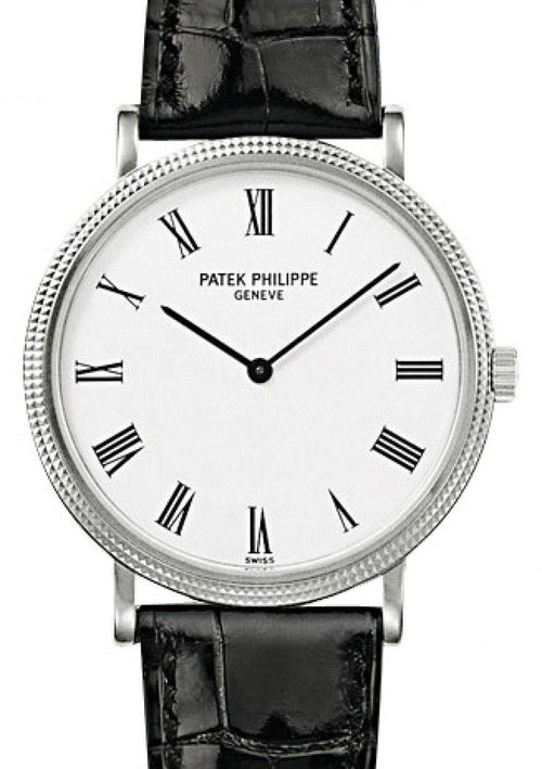 Men's Patek Philippe 5120G-001 Calatrava 35mm White Roman Hobnail White Gold Leather BRAND NEW - Global Timez