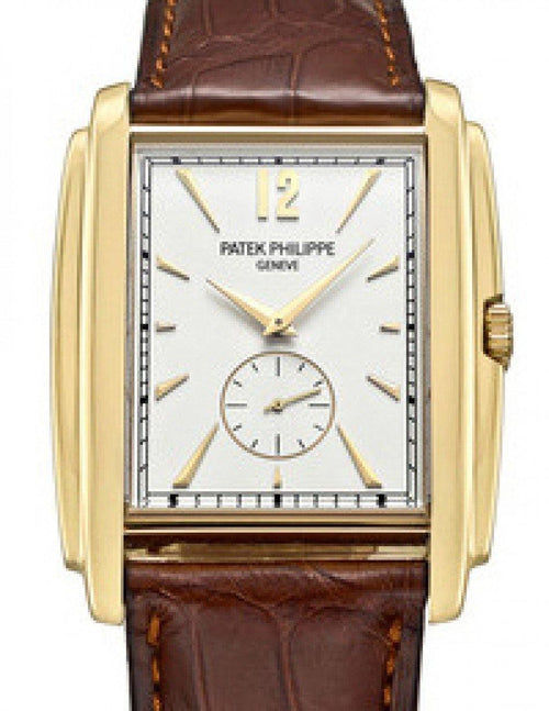 Men's Patek Philippe 5124J-001 Gondolo 33.4 x 43mm White Opaline Index Yellow Gold Leather Manual BRAND NEW - Global Timez