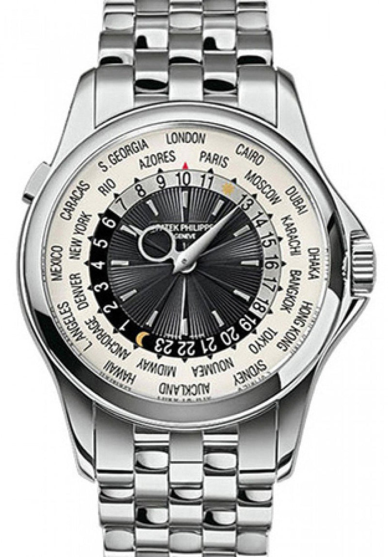 Men's Patek Philippe 5130/1G-011 Complications World Time 39.5mm Silver White Gold Automatic BRAND NEW