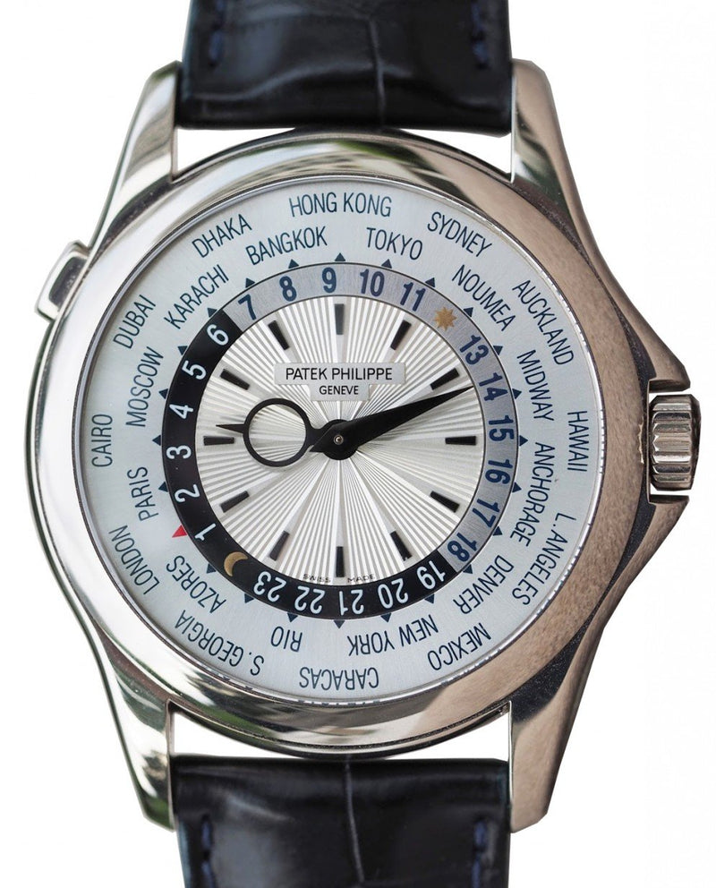 Men's Patek Philippe 5130G-019 Complications World Time 39.5mm Silver White Gold Automatic BRAND NEW