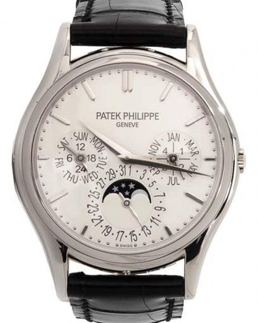 Men's Patek Philippe 5140G-001 Grand Complications 37.2mm White Opaline Index White Gold Leather Automatic BRAND NEW - Global Timez