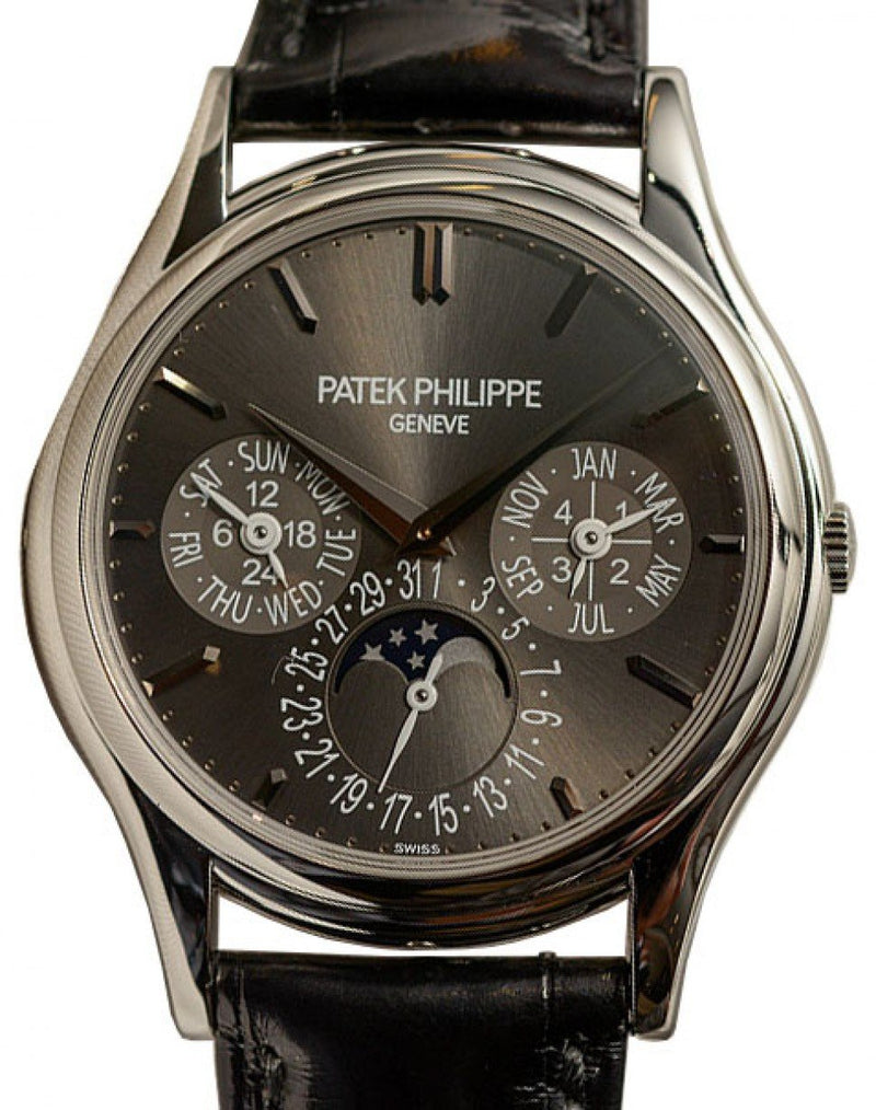Men's Patek Philippe 5140P-017 Grand Complications 37.2mm Charcoal Gray Sunburst Index Platinum Leather BRAND NEW