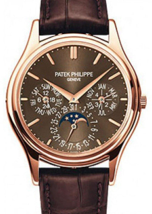 Men's Patek Philippe Grand Complications Day-Date Annual Calendar Moon Phase Brown Dial Rose Gold Leather 37.2mm 5140R-001 - BRAND NEW - Global Timez