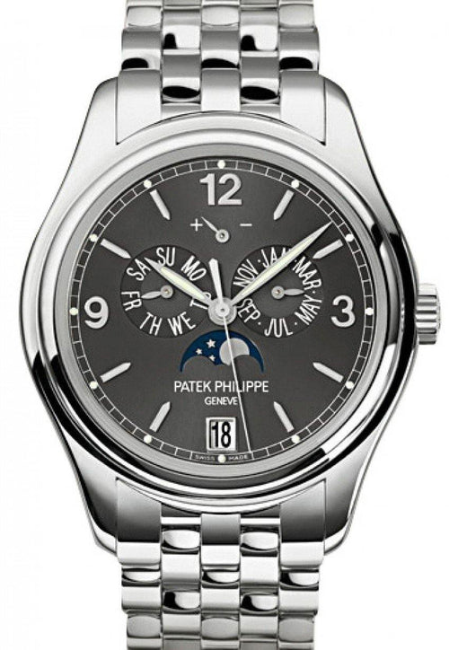 Men's Patek Philippe 5146/1G-010 Complications Annual Calendar Moon Phase Date 39mm Slate Grey Arabic Index White Gold Automatic BRAND NEW - Global Timez