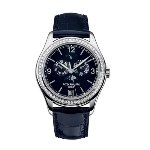 Men's Patek Philippe 5147G-001 Complications Annual Calendar Moon Phase Date 39mm Navy Blue Arabic Index White Gold Automatic BRAND NEW - Global Timez