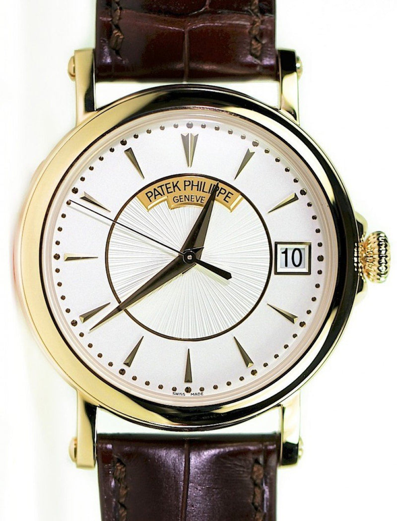 Men's Patek Philippe 5153J-001 Calatrava 38mm Silver Opaline Index Yellow Gold Leather BRAND NEW